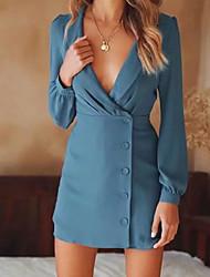 Недорогие -Жен. Для вечеринок Классический Тонкие Оболочка Платье - Однотонный Глубокий V-образный вырез Мини / Сексуальные платья