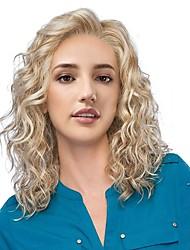 Недорогие -Парики из искусственных волос Жен. Естественные кудри Блондинка Боковая часть Искусственные волосы 18 дюймовый Новое поступление / Природные волосы / вьющийся Блондинка Парик Средняя длина