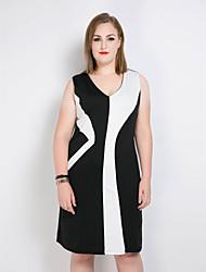 hesapli -Kadın's Büyük Bedenler Vintage / Sokak Şıklığı Kombinezon / Kılıf / Siyah ve Beyaz Elbise - Zıt Renkli / Kırk Yama V Yaka Midi / Diz-boyu