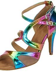 Недорогие -Жен. Обувь для латины Полиуретан На каблуках Блеск Тонкий высокий каблук Персонализируемая Танцевальная обувь Цвет радуги