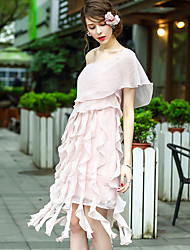 baratos -Mulheres Básico Chifon Vestido - Patchwork, Sólido Assimétrico
