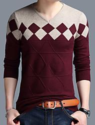 Недорогие -Муж. Повседневные Классический Контрастных цветов Длинный рукав Обычный Пуловер, V-образный вырез Оранжевый / Верблюжий / Винный XXL / XXXL / XXXXL