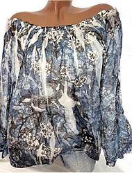 Недорогие -Жен. Оборки / Цветочный стиль / С принтом Большие размеры - Блуза С открытыми плечами Классический Цветочный принт / Геометрический принт / Рисунок