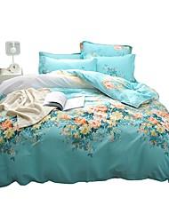 baratos -Conjunto de Capa de Edredão Floral 100% algodão Estampado 4 PeçasBedding Sets