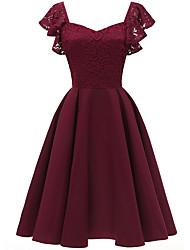 Недорогие -Женское платье миди слим свинг с v-образным вырезом винно-розовый темно-синий s m l xl
