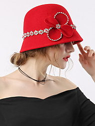 Недорогие -Чудесная миссис Мейзел Жен. Взрослые Дамы Ретро Колпак шляпа Хайратники Заколки для волос Красный Бант Шерсть Головные уборы