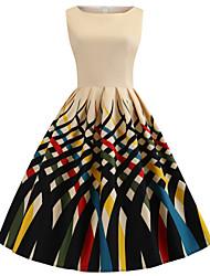 Недорогие -Жен. Классический Оболочка Платье - Геометрический принт, С принтом До колена