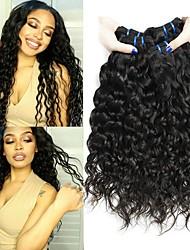 Недорогие -3 Связки Бразильские волосы Волнистые Натуральные волосы Необработанные натуральные волосы Wig Accessories Головные уборы Человека ткет Волосы 8-28 дюймовый Естественный цвет Ткет человеческих волос