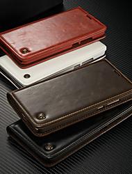Недорогие -Кейс для Назначение Huawei Mate 9 Кошелек / Бумажник для карт / со стендом Чехол Однотонный Твердый Кожа PU