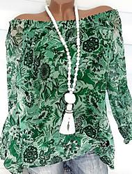 Недорогие -Жен. Оборки / Цветочный стиль / С принтом Большие размеры - Блуза С открытыми плечами Классический Цветочный принт / Мода