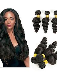 voordelige -4 bundels Maleisisch haar Los golvend Onbehandeld haar Menselijk haar weeft Bundle Hair Extentions van mensenhaar 8-28 inch(es) Natuurlijke Kleur Menselijk haar weeft nieuwe collectie Hot Sale Cool