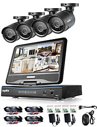 cheap -SANNCE® 8CH 4PCS 720P LCD DVR Weatherproof Surveillance Security System Supported Analog AHD TVI IP Camera
