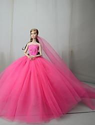 Недорогие -Платье куклы Платья Для Barbie Пурпурный Тюль Кружево Смесь хлопка Платье Для Девичий игрушки куклы