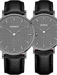 Недорогие -Kopeck Для пары Наручные часы электронные часы Японский Японский кварц Натуральная кожа Черный / Коричневый / Шоколадный 30 m Защита от влаги Повседневные часы Аналоговый Винтаж На каждый день -