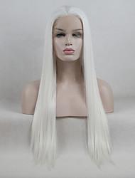 abordables -Perruque Lace Front Synthétique Droit Kardashian Style Partie libre Lace Frontale Perruque Blanc Blanc crème Cheveux Synthétiques 18-26 pouce Femme Ajustable / Dentelle / Résistant à la chaleur Blanc