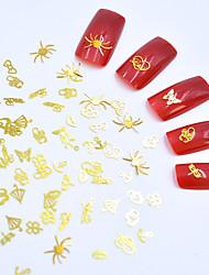 Недорогие -Искусственные советы для ногтей 3D наклейки на ногти Стразы для ногтей Глянцевый / Мини / 3D интерфейс Тату с тотемом Тату с животными Тату со стразами маникюр Маникюр педикюр Медь / Металл