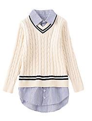 お買い得  -子供 女の子 ストリートファッション 日常 ストライプ 長袖 レギュラー ポリエステル セーター&カーデガン ピンク