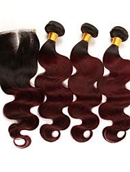Недорогие -3 комплекта с закрытием Бразильские волосы Естественные кудри человеческие волосы Remy Накладки из натуральных волос / Волосы Уток с закрытием 10-24 дюймовый Ткет человеческих волос 4x4 Закрытие