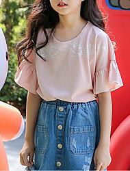 お買い得  -子供 女の子 ベーシック 日常 ソリッド 長袖 レギュラー コットン / ポリエステル Tシャツ ピンク