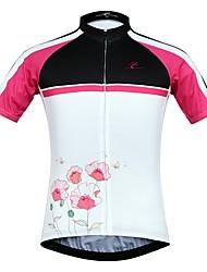 Недорогие -JESOCYCLING Жен. С короткими рукавами Велокофты - Белый Цветочные / ботанический Велоспорт Джерси Верхняя часть Быстровысыхающий Виды спорта 100% полиэстер Горные велосипеды Шоссейные велосипеды