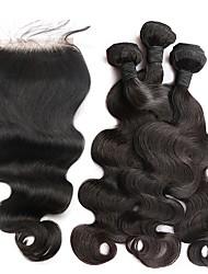 Недорогие -3 комплекта с закрытием Бразильские волосы Естественные кудри Натуральные волосы Необработанные натуральные волосы Плетение Волосы Уток с закрытием 10inch-26inch Нейтральный Ткет человеческих волос