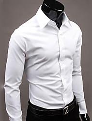 Недорогие -Муж. Офис Рубашка Классический воротник Деловые / Классический Однотонный / Длинный рукав