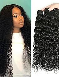 Недорогие -4 Связки Бразильские волосы Волнистые Не подвергавшиеся окрашиванию человеческие волосы Remy Человека ткет Волосы Сувениры для чаепития Уход за волосами 8-28 дюймовый Естественный цвет / Без запаха