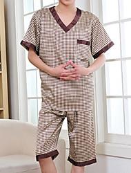 Недорогие -Муж. Глубокий V-образный вырез Костюм Пижамы Однотонный / Гусиная лапка