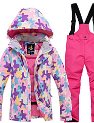 ad5bfe00c7 ... Girls  Ski Jacket with Pants Windproof Rain-Proof Warm Skiing  Snowboarding Winter Sports POLY Eco-friendly Polyester Tracksuit Bib Pants  Top Ski Wear