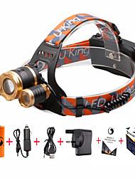 olcso Outdoor sport-U'King Fejlámpák Biciklis első lámpa LED Cree® XM-L T6 3 Sugárzók 4800 lm 4.0 világítás mód akkukkal és töltővel Nagyítható, Állítható fókusz, Kompakt méret Kempingezés / Túrázás / Barlangászat