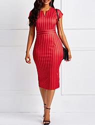 Недорогие -Жен. Элегантный стиль Оболочка Платье - Полоски, С разрезами Средней длины