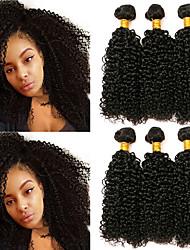 economico -6 pacchi Brasiliano Kinky Curly capelli naturali Remy Regali Accessori per capelli Ciocche a onde capelli veri 8-28 pollice Colore Naturale Tessiture capelli umani Design Migliore qualità Fantastico