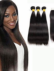 cheap -3 Bundles with Closure Malaysian Hair Straight Virgin Human Hair Hair Accessory Human Hair Extensions Hair Weft with Closure 10-26 inch Natural Color Human Hair Weaves Silky New Arrival Hot Sale