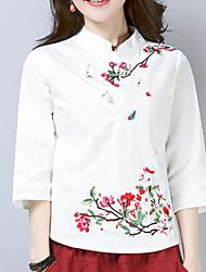 olcso -női ázsiai méretű vékony ing - geometriai / tömör színű ing gallér