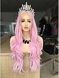 Недорогие -Синтетические кружевные передние парики Жен. Естественные кудри Розовый Стрижка каскад 130% Человека Плотность волос Искусственные волосы 24 дюймовый Женский Розовый Парик Длинные Лента спереди