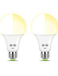 Недорогие -ZDM 2шт умный Wi-Fi теплый белый свет лампы E27 A19 6,5 Вт лампы для спальни ночник не требуется концентратор совместим с алексей че& помощник гугл& режим музыки ifttt&amp