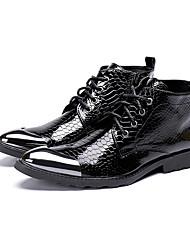 Недорогие -Муж. Обувь для новинок Наппа Leather Весна лето / Наступила зима На каждый день / Английский Ботинки Нескользкий Ботинки Черный / Свадьба / Для вечеринки / ужина