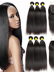 abordables -3 paquets avec fermeture Cheveux Brésiliens Droit Cheveux Vierges Naturel Tissages de cheveux humains Accessoire de Costume Bundle cheveux 8-20 pouce Couleur naturelle Tissages de cheveux humains 4x4