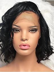 levne -Přírodní vlasy Se síťovanou přední částí Paruka Střih Bob Krátký Bob styl Brazilské vlasy Vlnitá Černá Paruka 130% Hustota vlasů s dětskými vlasy Přírodní vlasová linie Pro černošky 100% Panna 100