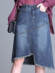 Недорогие -женские льняные / хлопчатобумажные юбки миди bodycon - однотонные