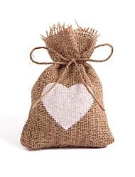 baratos -Quadrangular Linho Artificial Suportes para Lembrancinhas com Coração Bolsas de Ofertas / Caixas de Presente - 12pcs