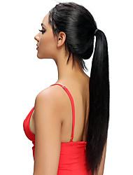 Недорогие -человеческие волосы Remy Лента спереди Парик Бразильские волосы Шелковисто-прямые Парик Ассиметричная стрижка 130% Плотность волос Натуральный Горячая распродажа Удобный 100% девственница Нейтральный