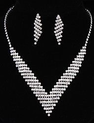 Недорогие -Жен. Цирконий Длиные Комплект ювелирных изделий Стерлинговое серебро Свисающие, Цветы Классика, Винтаж, Элегантный стиль Включают Серьги-слезки Ожерелья-бархатки Винтажное ожерелье Серьги Серебряный