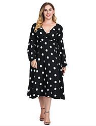 Недорогие -Женская повседневная одежда больших размеров с линией миди с высокой талией и V-образным вырезом из хлопка черного цвета xl xxl xxxl xxxxl