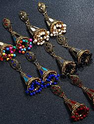お買い得  -女性用 ビンテージ ドロップイヤリング  -  人造真珠, ゴールドメッキ, イミテーションダイヤモンド エスニック ジュエリー レインボー / レッド / ブルー 用途 舞台 祝日 / 1ペア