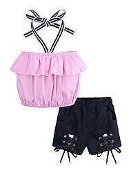 お買い得  -子供 / 幼児 女の子 ストリートファッション 日常 / お出かけ ソリッド ノースリーブ コットン / ポリエステル アンサンブル ピンク