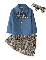 abordables -Bebé Chica Activo / Chic de Calle Diario / Noche Leopardo Estampado Manga Larga Regular Rayón Conjunto de Ropa Azul Piscina