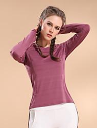 저렴한 -여성용 V 넥 패치 워크 러닝 티셔츠 - 핑크, 다크 핑크, 버건디 스포츠 한 색상 탑스 요가, 달리기, 피트니스 긴 소매 스포츠웨어 통기성, 빠른 드라이, 소프트 높은 탄성 / 겨울