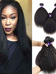 tanie -6 pakietów Kinky Straight Włosy virgin Włosy naturalne remy Nakrycie głowy Fale w naturalnym kolorze Pielęgnacja włosów 8-28 in Kolor naturalny Ludzkie włosy wyplata Modny design Klasyczny Nowości