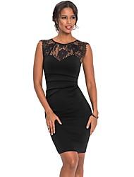 Недорогие -Жен. Элегантный стиль Облегающий силуэт Платье - Геометрический принт, Кружевная отделка Выше колена
